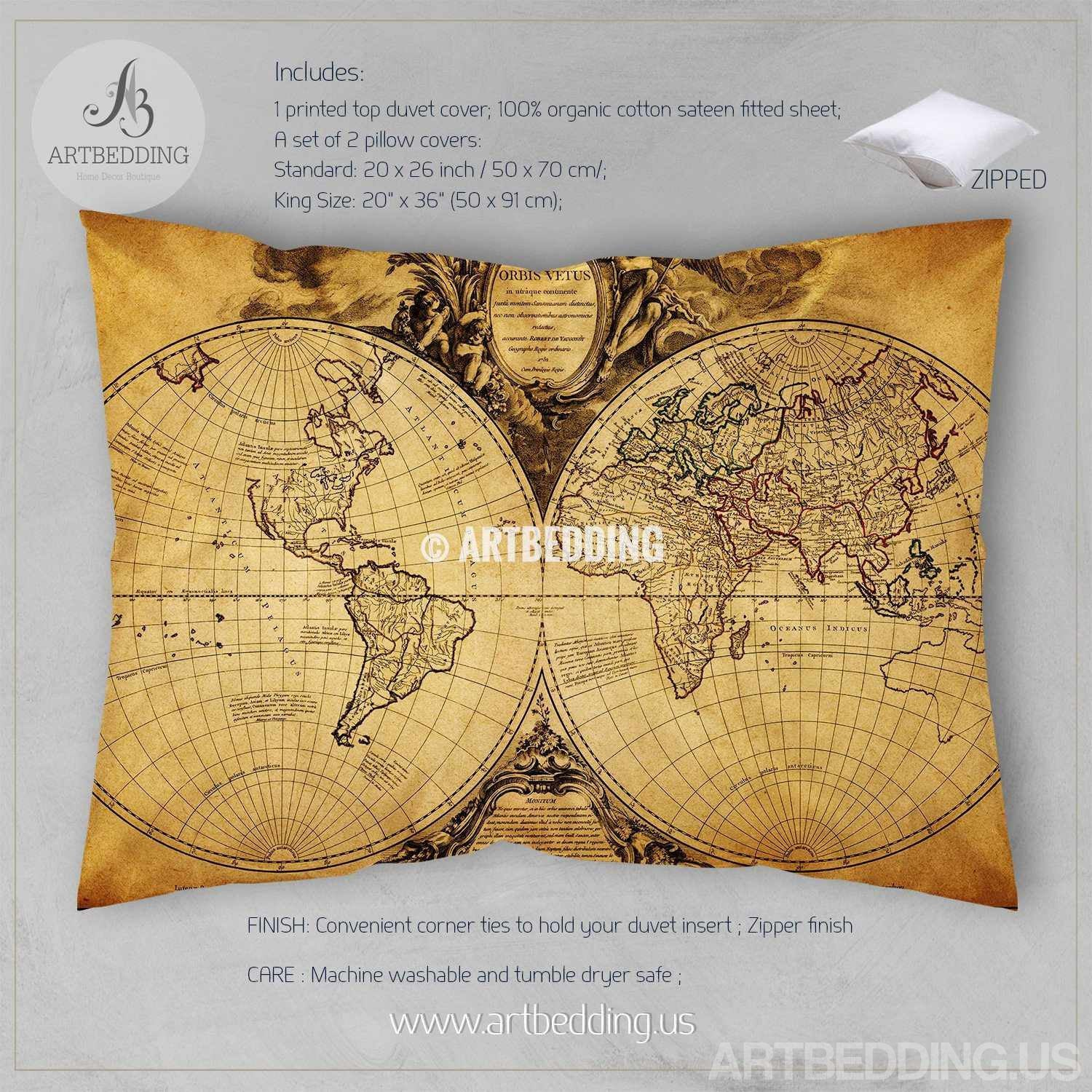 Vintage Map Bedding Vintage Old Map Duvet Cover Old Map Antique - Us map with world map in the corner