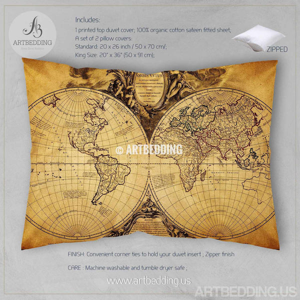 Vintage World Map Bedding Antique Map Of The World 1752 Duvet Cover - Old-map-of-us
