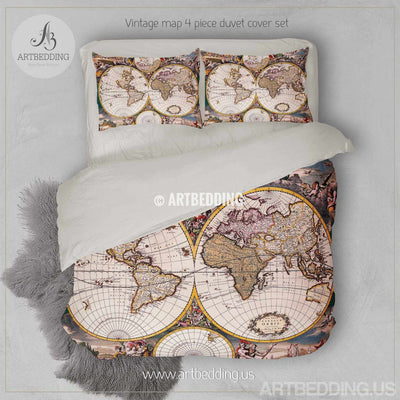 Vintage map bedding, Vintage old map duvet cover, Antique map queen / king / full Bedding Set, Vintage steampunk map Duvet cover set Bedding set