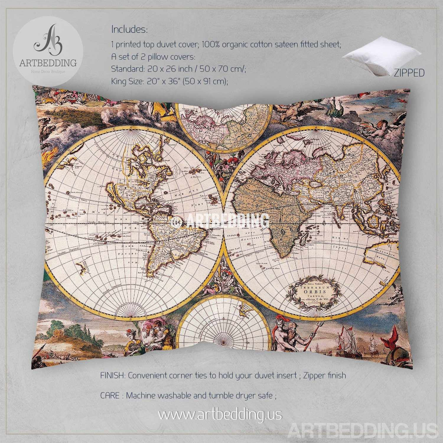 Old world map bedding vintage 18th century hemisphere illustration vintage map bedding vintage old map duvet cover antique map queen king old world gumiabroncs Image collections