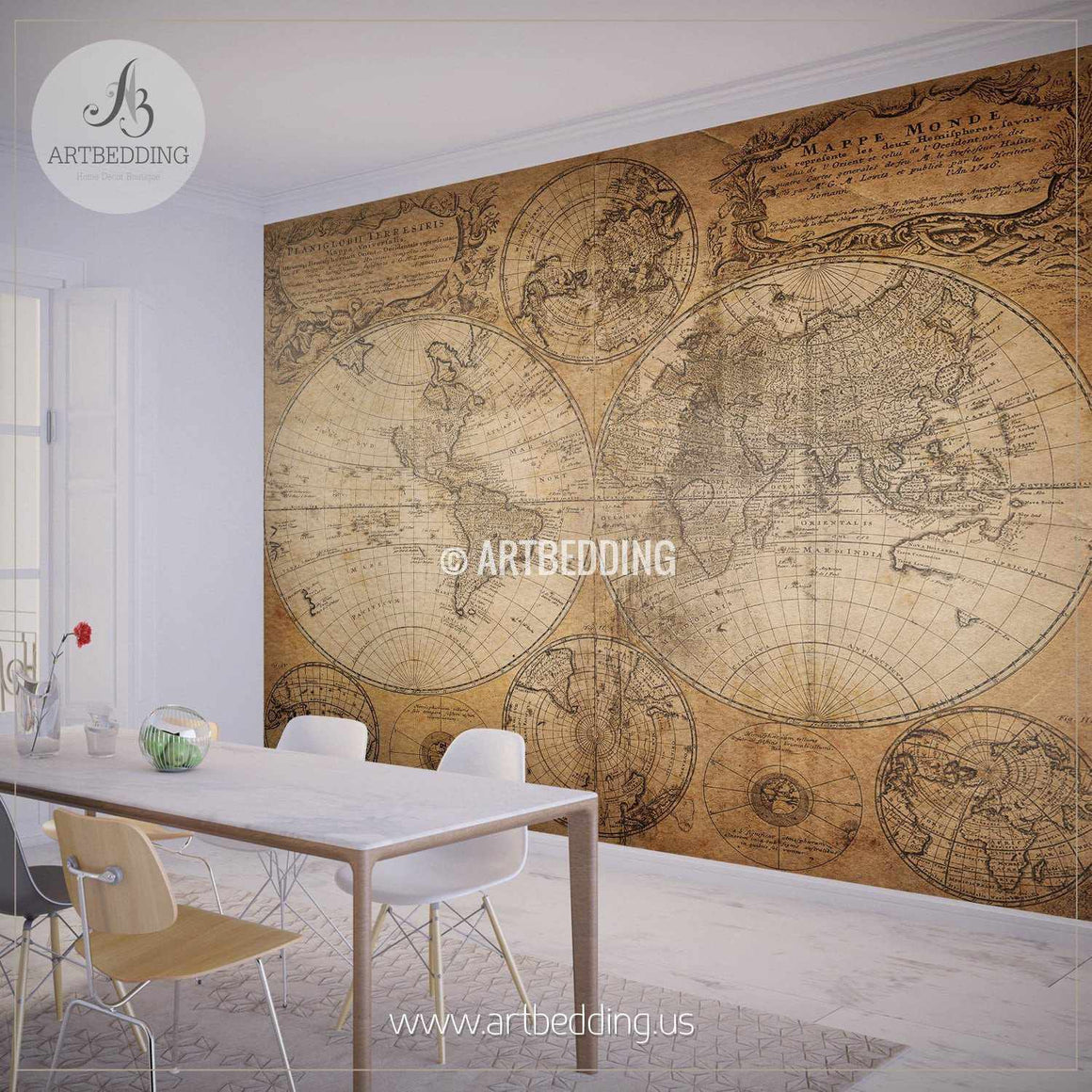 Vintage map from 1746 Hemisphere Wall Mural, Self Adhesive Peel & Stick Photo Mural, Atlas wall mural, mural home decor wall mural