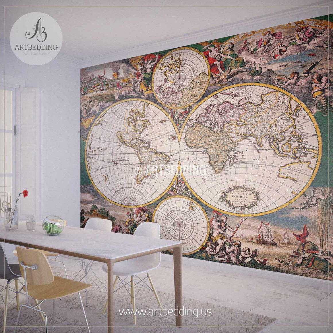 Vintage Map Hemisphere Wall Mural, Self Adhesive Peel & Stick Photo Mural, Atlas wall mural, mural home decor wall mural