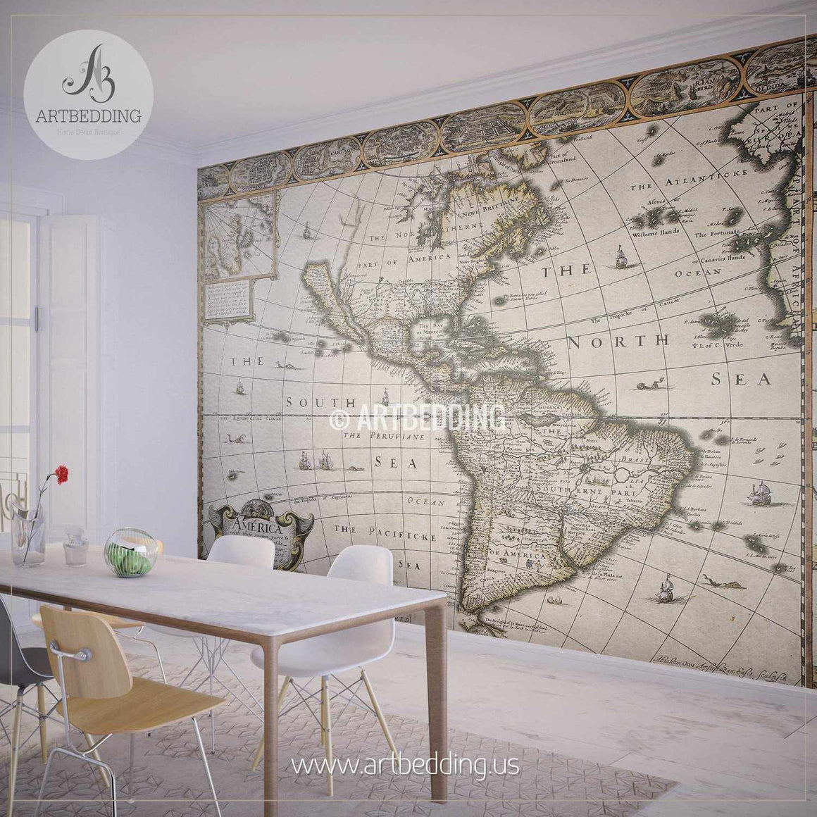 Vintage Map of America 1627 Wall Mural, Self Adhesive Peel & Stick Photo Mural, Atlas wall mural, mural home decor wall mural