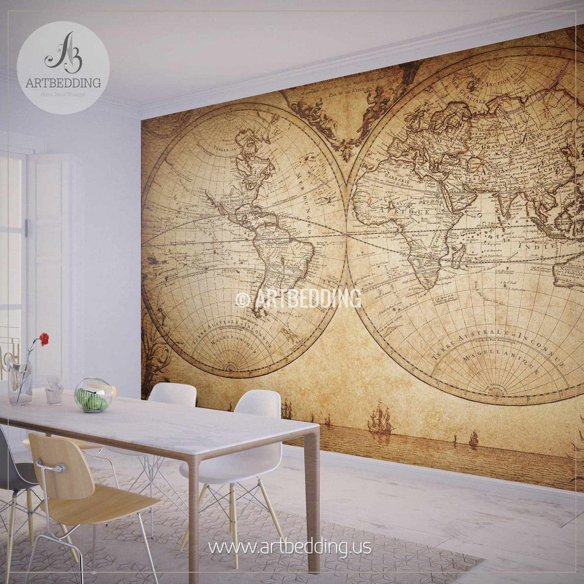 Vintage Map Wall Mural, Self Adhesive Peel & Stick Photo Mural, Atlas wall mural, mural home decor wall mural