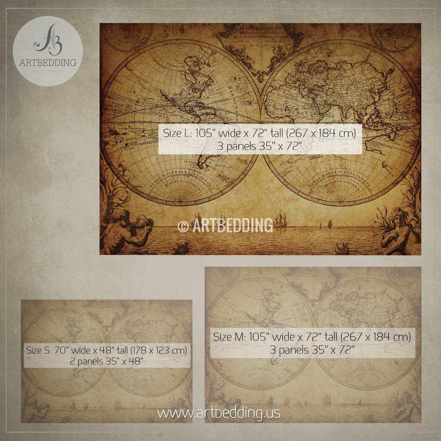 Vintage map wall mural self adhesive photo mural artbedding - Vintage home decorating collection ...