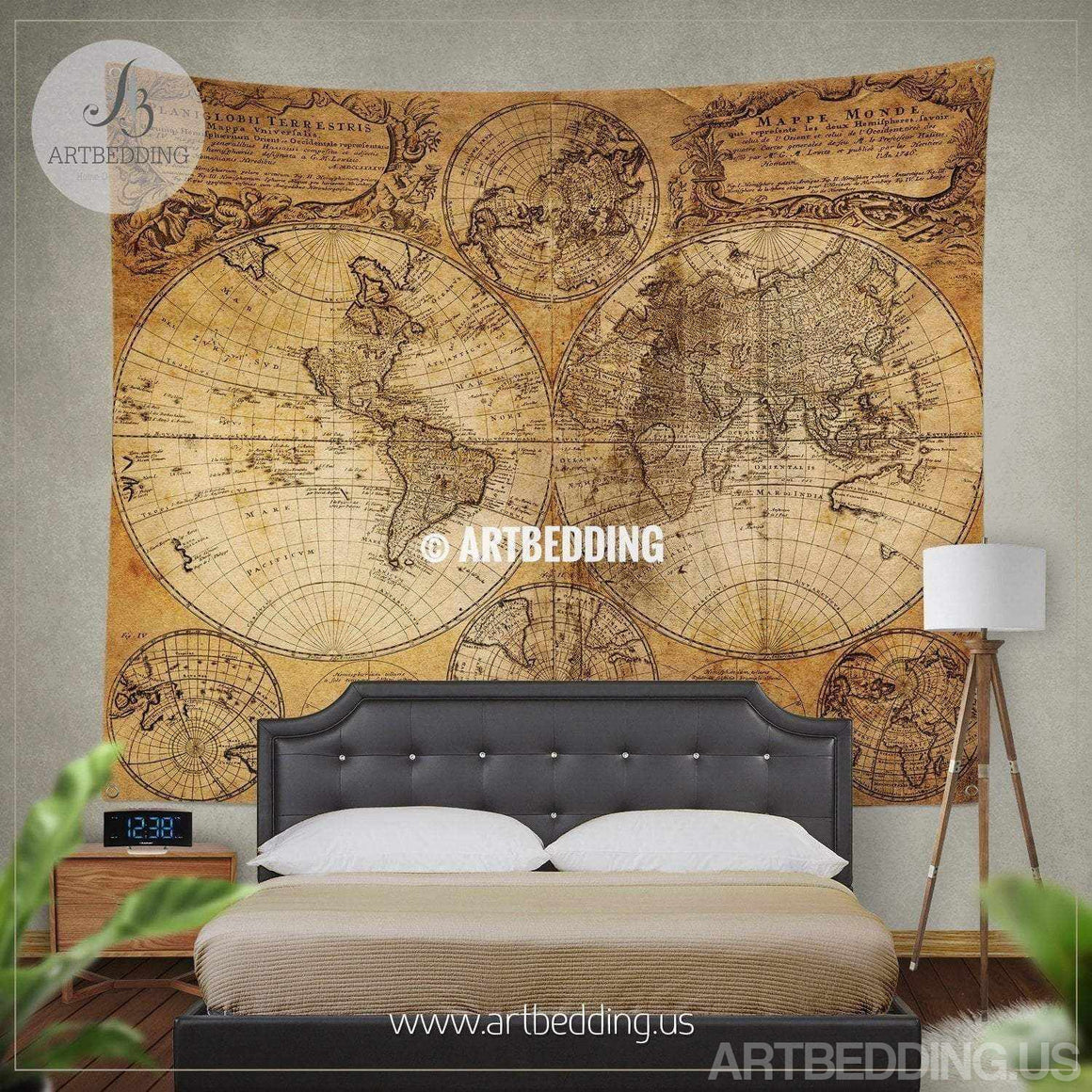 Vintage orld map wall tapestry, Historical world map wall hanging, antique old map wall decor, vintage map wall art print Tapestry