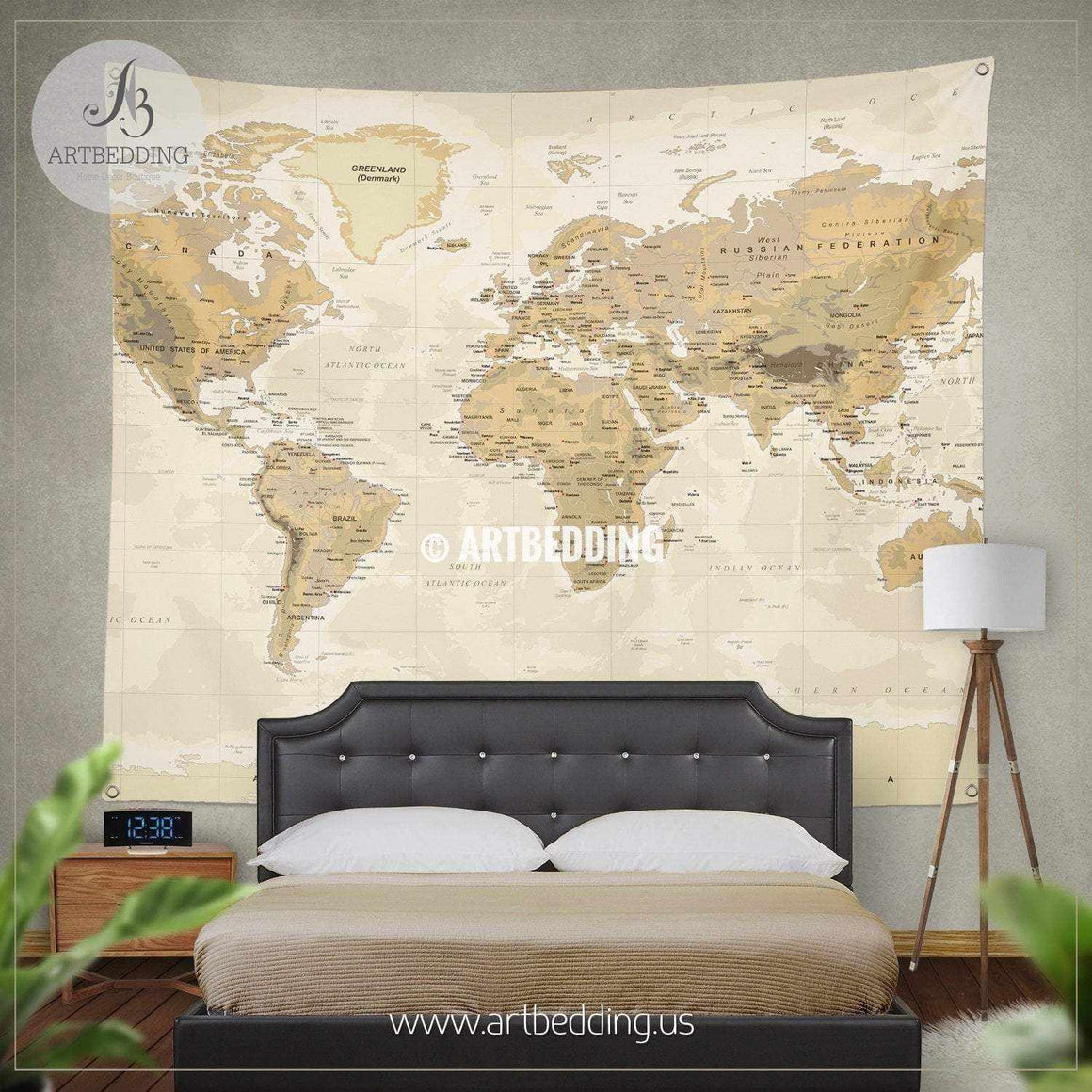 Vintage Physical World Map wall tapestry, vintage interior map wall hanging, old map wall decor, vintage map wall art print Tapestry