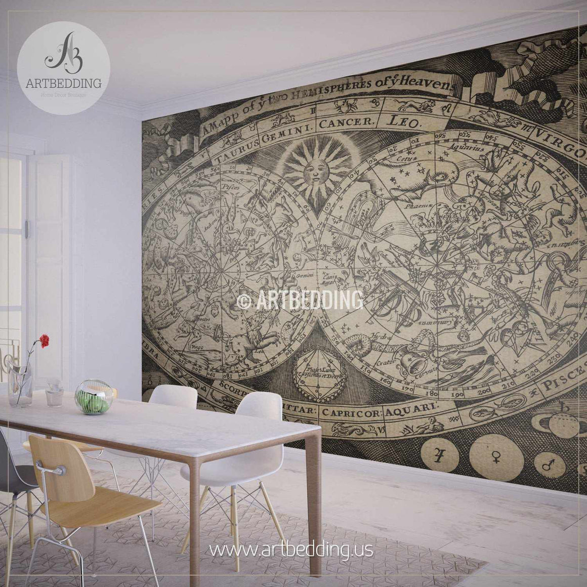 Vintage Stellar Map Wall Mural, Self Adhesive Peel & Stick Photo Mural, Atlas wall mural, mural home decor wall mural