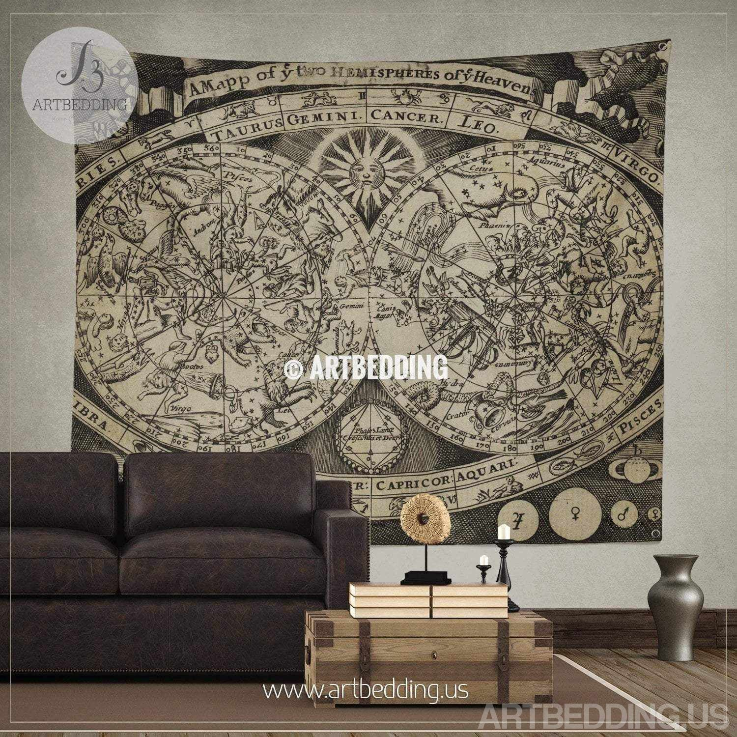 ... Vintage stellar map wall tapestry, Vintage Astronomical atlas wall  hanging, old map wall decor ...