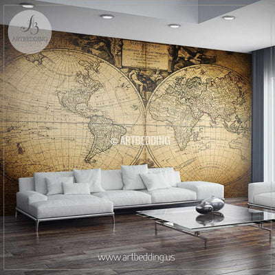 Vintage World Map 1752 Hemisphere Wall Mural, Self Adhesive Peel & Stick Photo Mural, Atlas wall mural, mural home decor wall mural