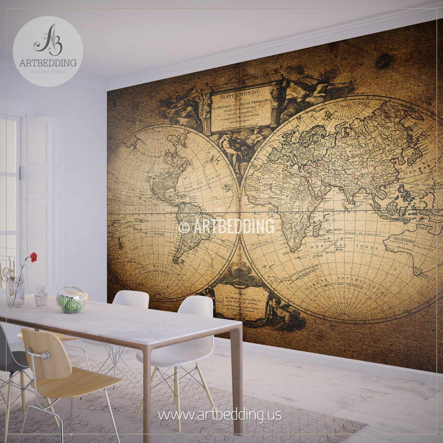 ... Vintage World Map 1752 Hemisphere Wall Mural, Self Adhesive Peel U0026  Stick Photo Mural, ...