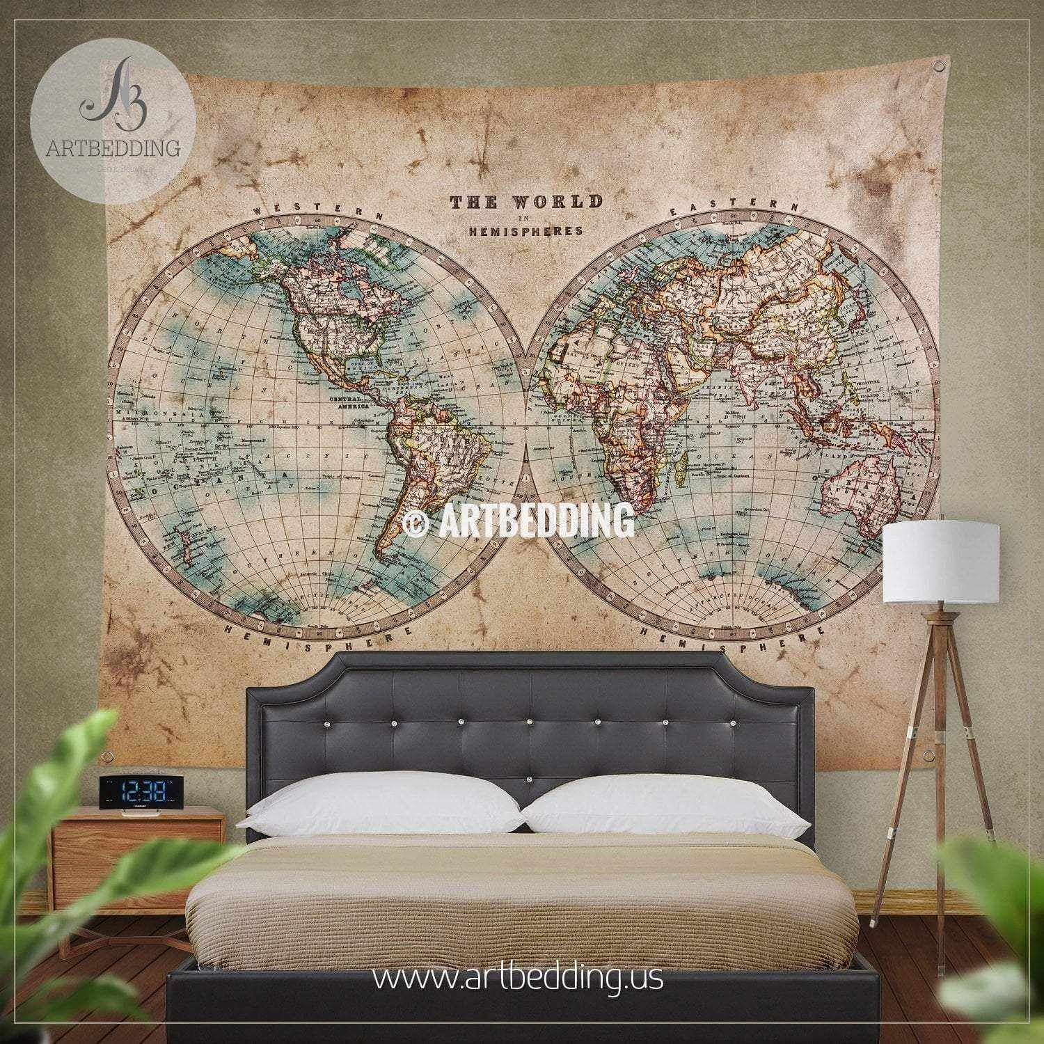 Vintage world map bedding, 1800 Western and Eastern Hemispheres old ...