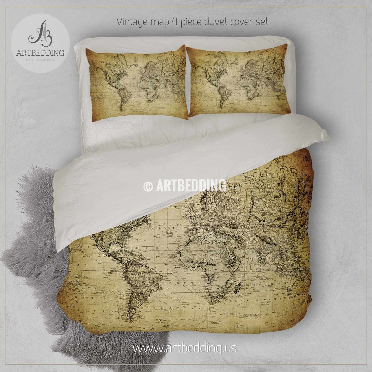 Vintage world map bedding tagged world map bedding set artbedding vintage world map bedding vintage old map duvet cover antique map queen king gumiabroncs Gallery