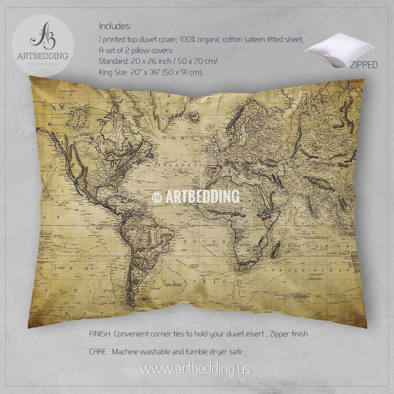 Vintage World Map Bedding Vintage Old Map Duvet Cover Antique - Us map with world map in the corner
