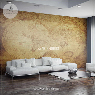 Vintage World Map (circa 1675-1710) Wall Mural, Self Adhesive Peel & Stick Photo Mural, Atlas wall mural, mural home decor wall mural