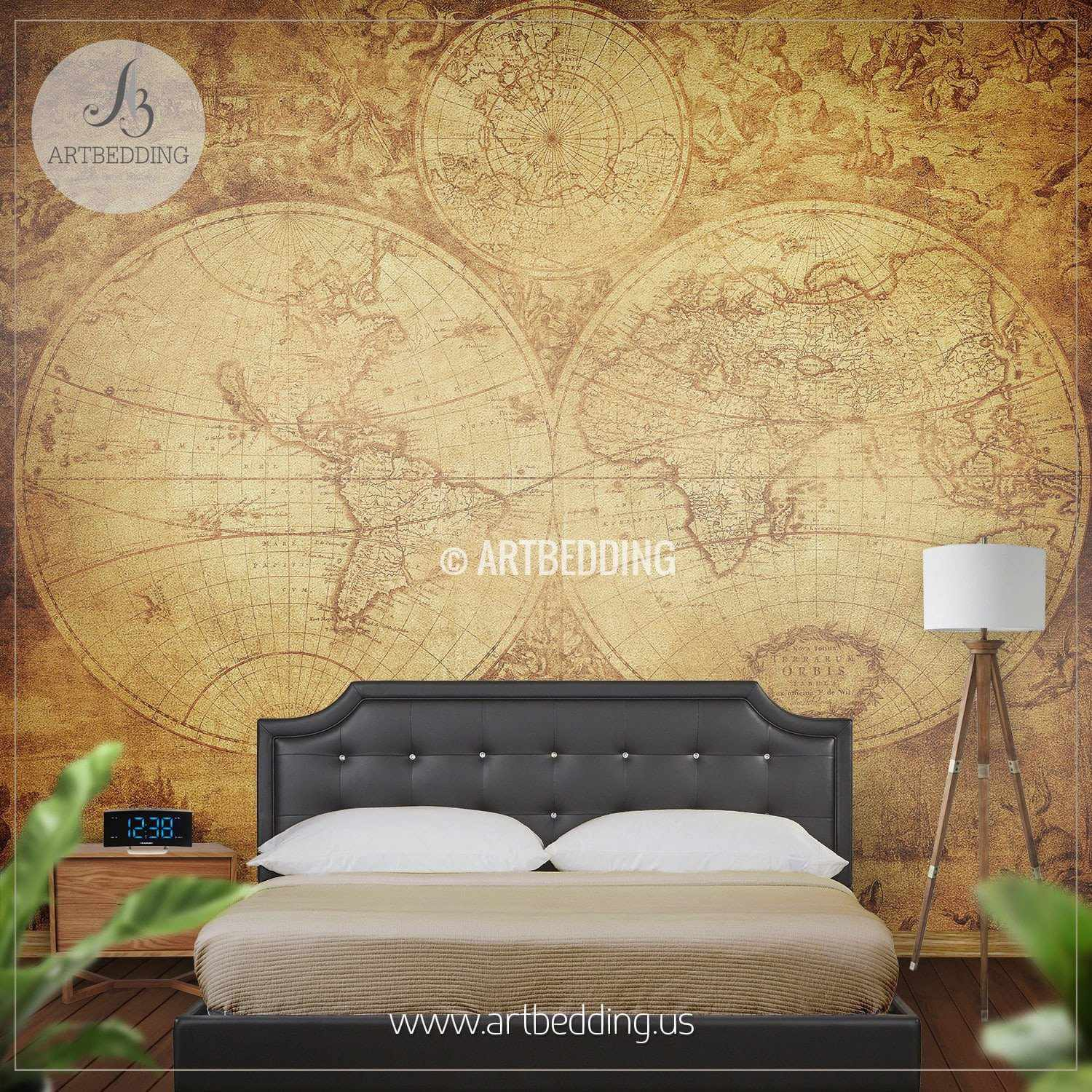 ... Vintage World Map (circa 1675 1710) Wall Mural, Self Adhesive Peel ...
