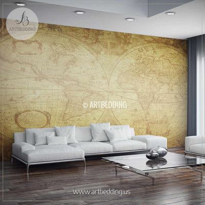 Vintage World Map from 1630 Wall Mural, Self Adhesive Peel & Stick Photo Mural, Atlas wall mural, mural home decor wall mural