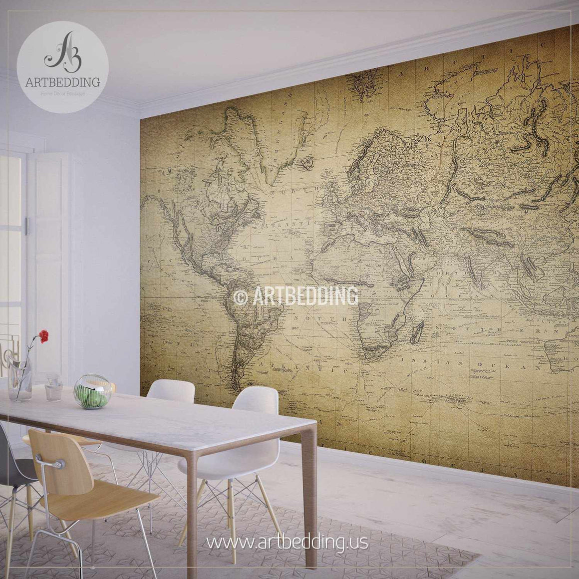 Vintage World Map from 1814 Wall Mural, Self Adhesive Peel & Stick Photo Mural, Atlas wall mural, mural home decor wall mural