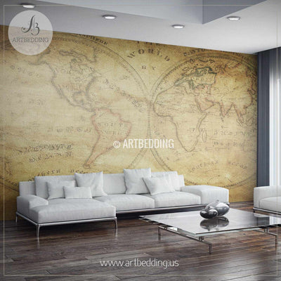 Vintage World Map from 1833 Wall Mural, Self Adhesive Peel & Stick Photo Mural, Atlas wall mural, mural home decor wall mural