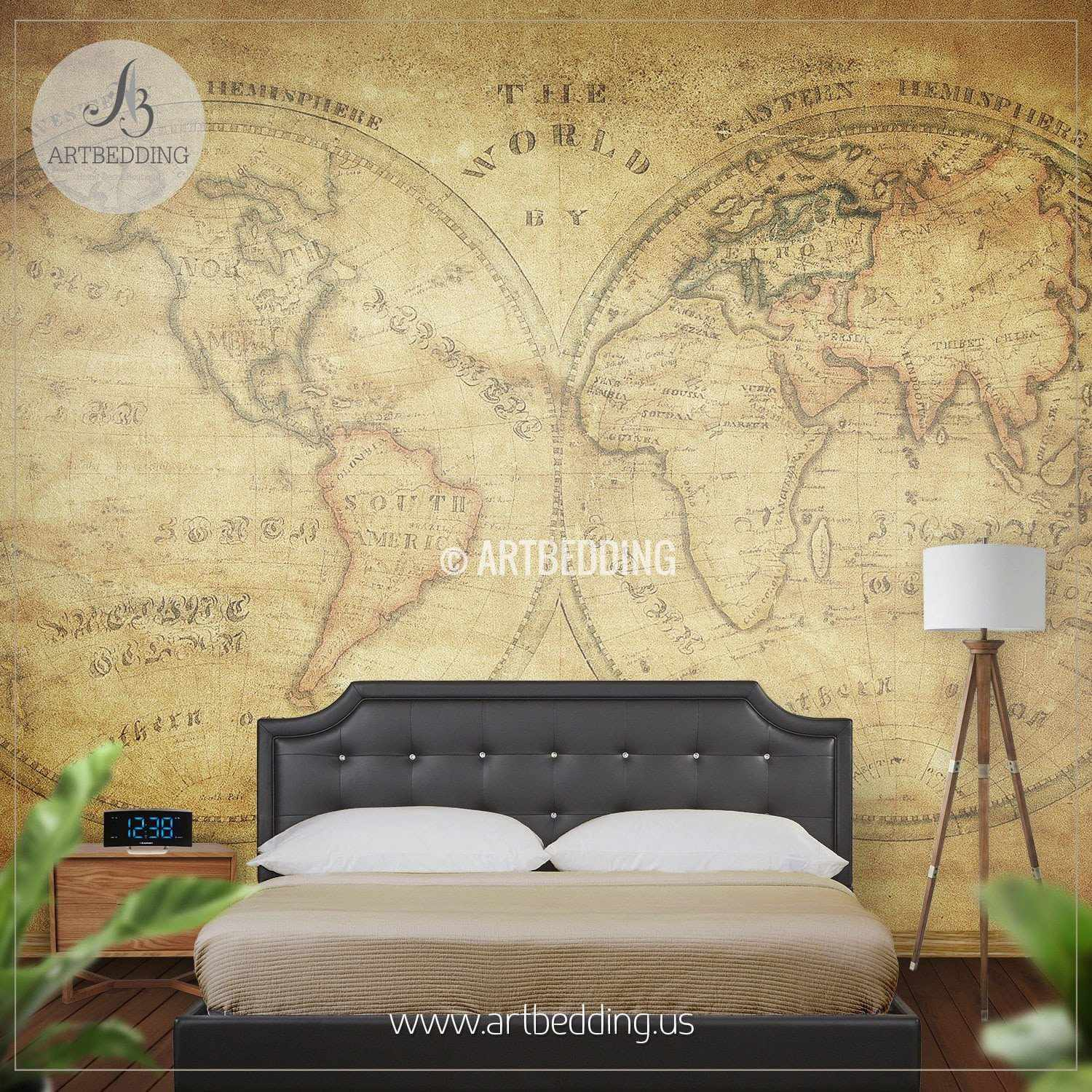 Vintage map wall mural self adhesive photo mural artbedding home vintage world map from 1833 wall mural self adhesive peel stick photo mural gumiabroncs Choice Image