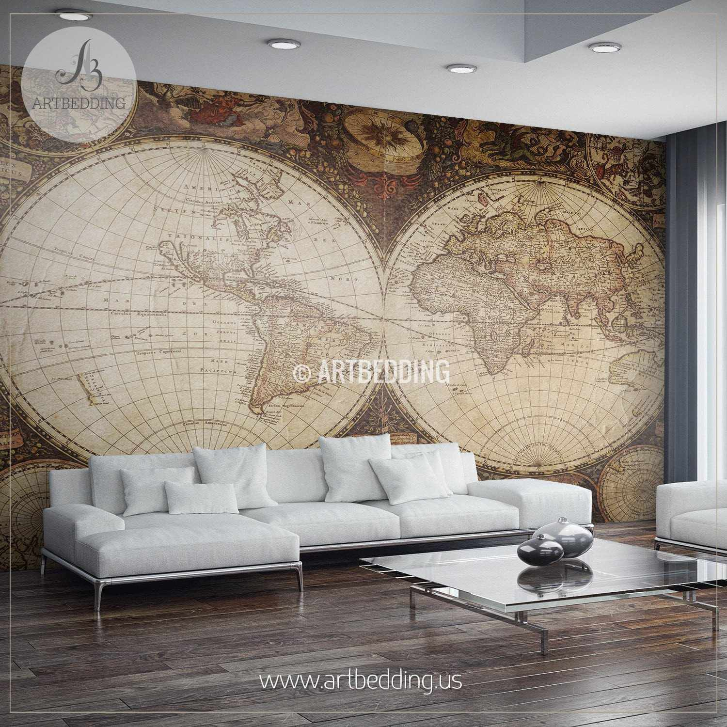 Vintage Map Wall Mural, Self Adhesive Photo Mural - ARTBEDDING Home ...