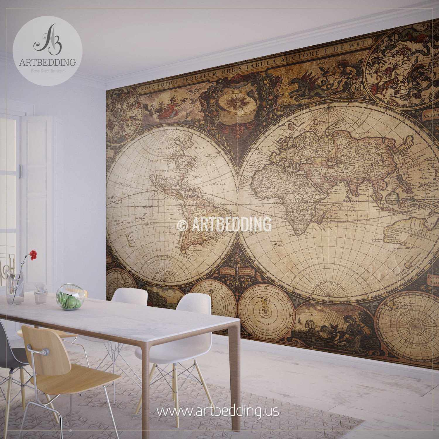 Vintage map wall mural self adhesive photo mural artbedding for Antique world map wall mural