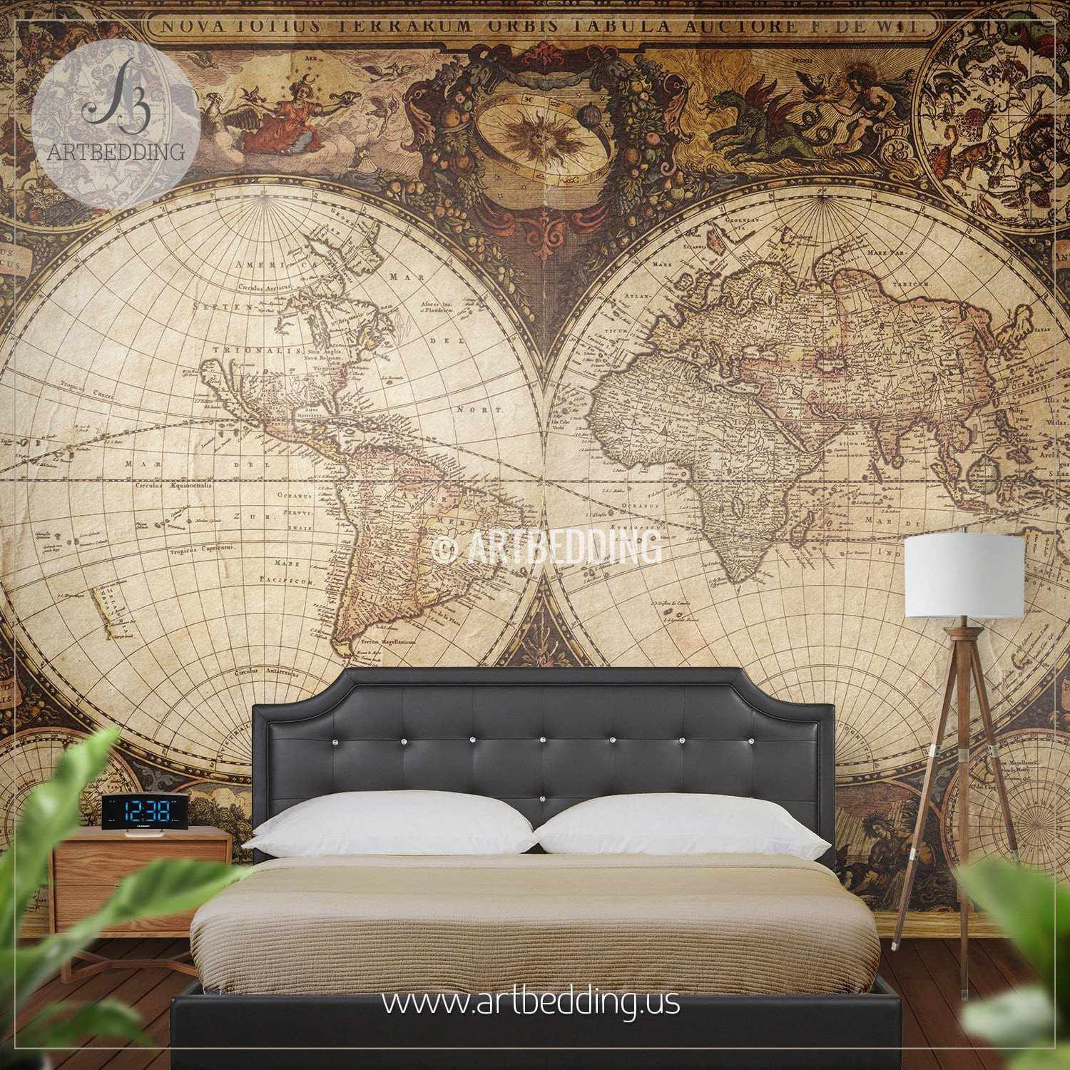 Vintage map wall mural self adhesive photo mural artbedding vintage world map hemisphere wall mural self adhesive peel stick photo mural atlas gumiabroncs Image collections