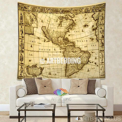Vintage world map wall tapestry, America vintage world map wall hanging, old map wall decor, vintage map wall art print