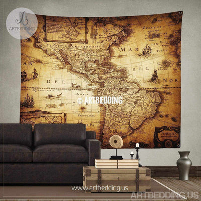 Vintage world map wall tapestry, America vintage world map wall hanging, old map wall decor, vintage map wall art print Tapestry