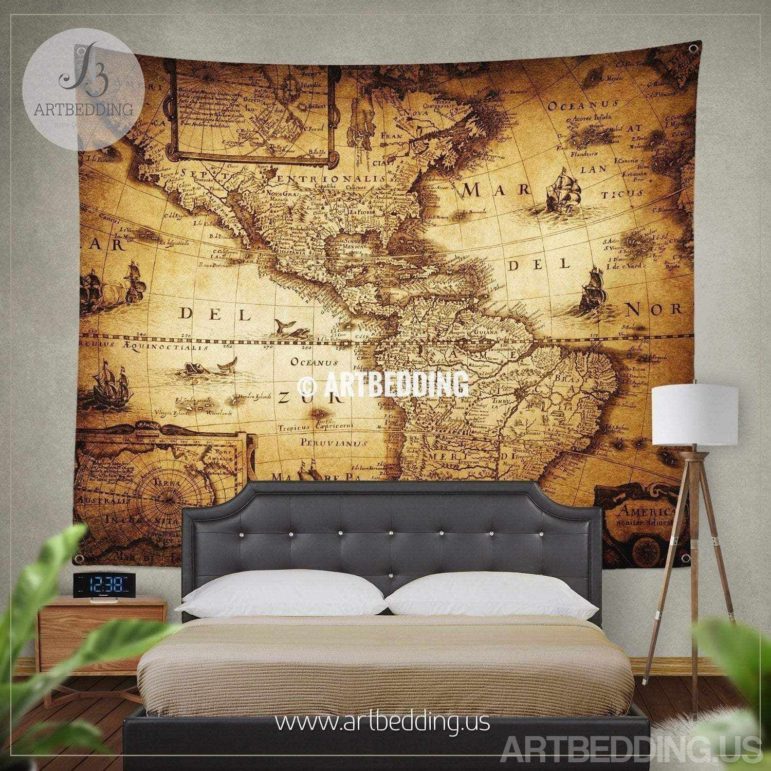 Vintage Map Tapestry, old map wall decor, vintage wall decor ...