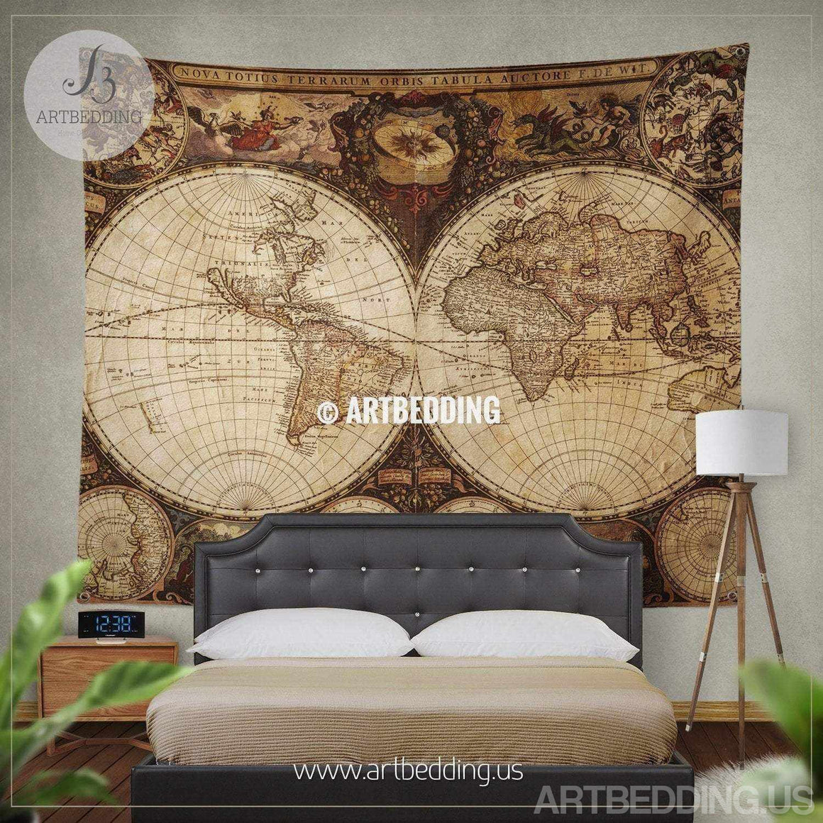 Vintage world map wall tapestry, Ancient world map wall hanging, vintage old map wall decor, Historical map wall art print Tapestry