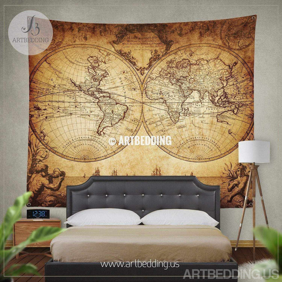 Vintage world map wall tapestry, Historical world map wall hanging, old map wall decor, vintage map wall art print Tapestry