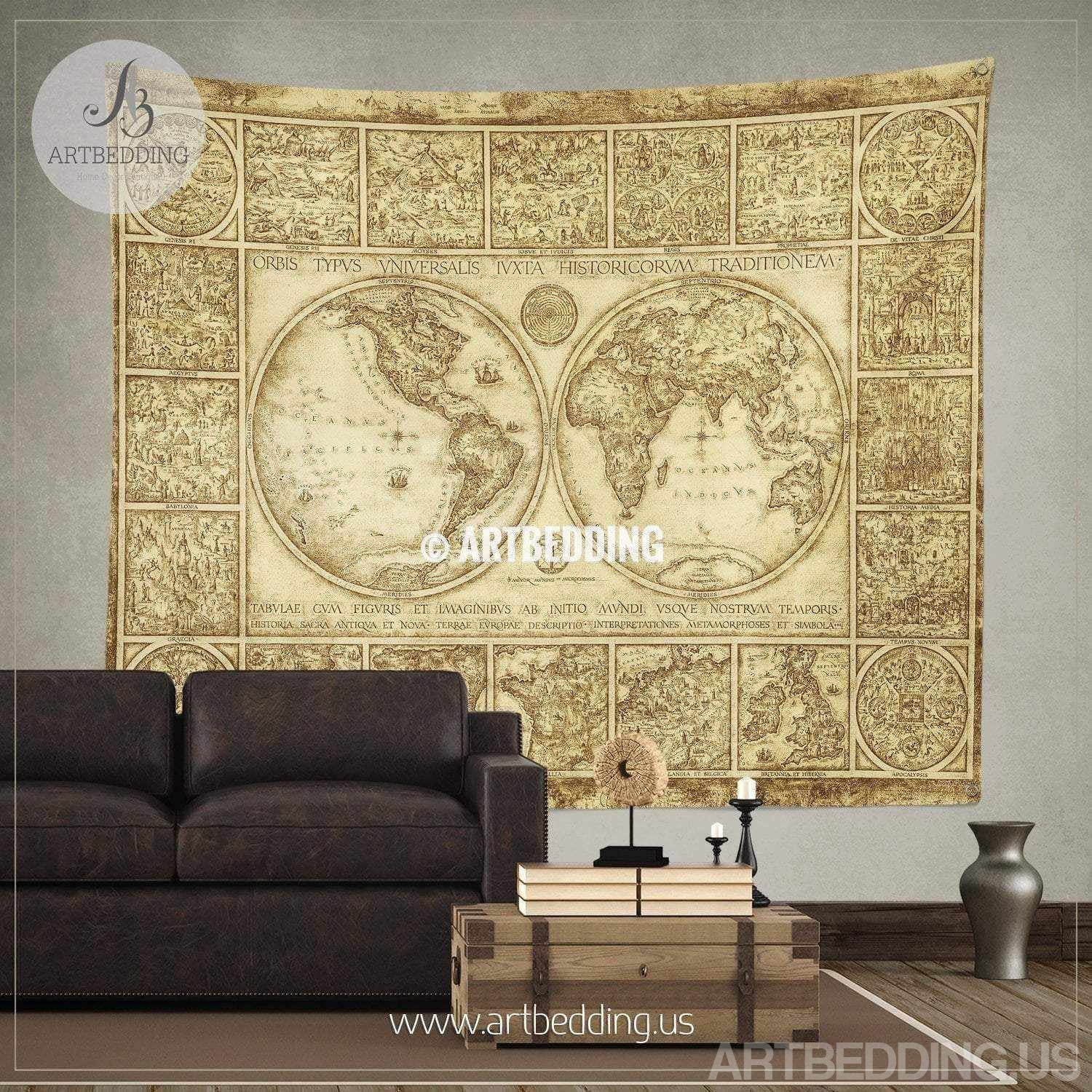 Vintage world map wall tapestry, old world map wall hanging - ARTBEDDING