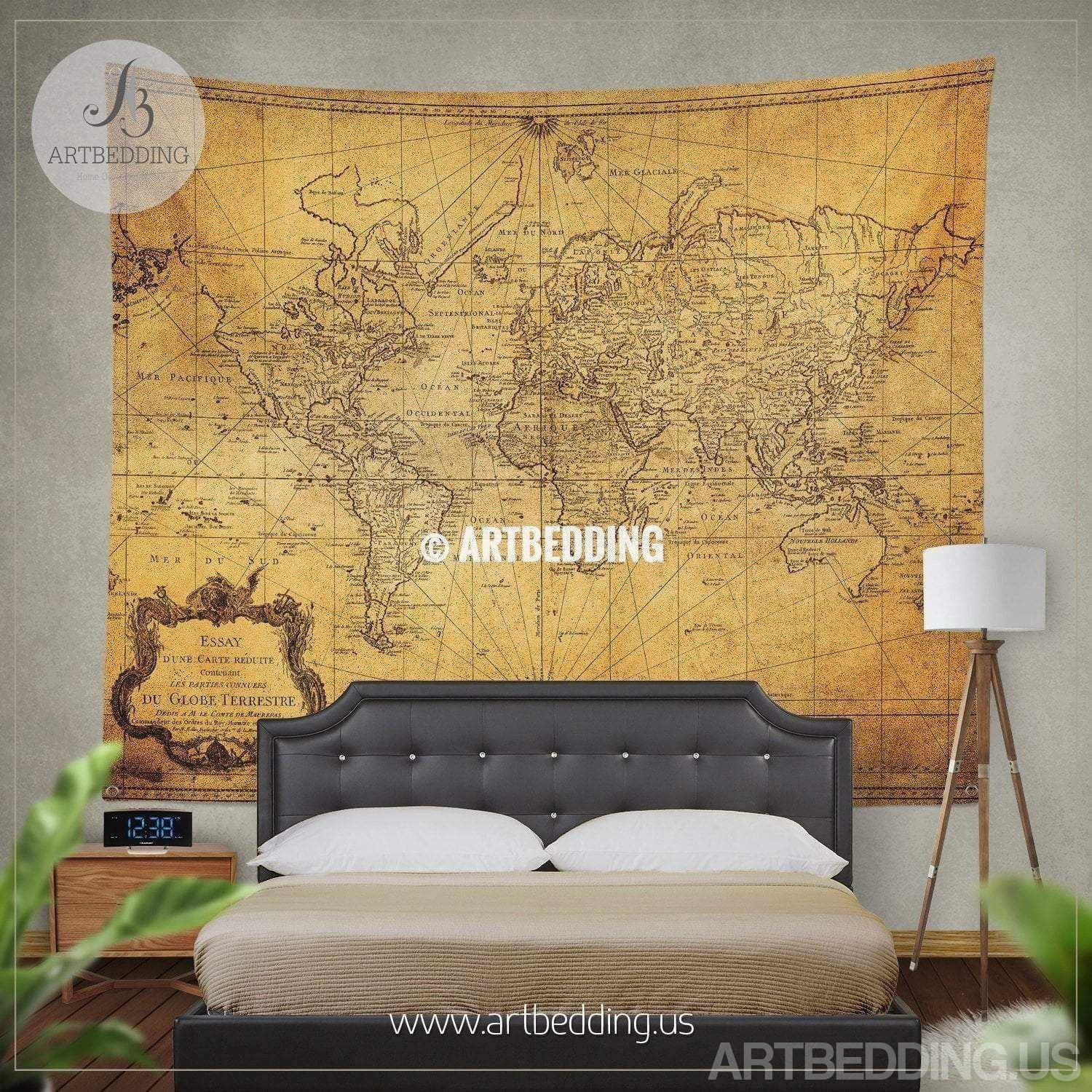 Vintage world map wall tapestry, vintage world map wall hanging ...