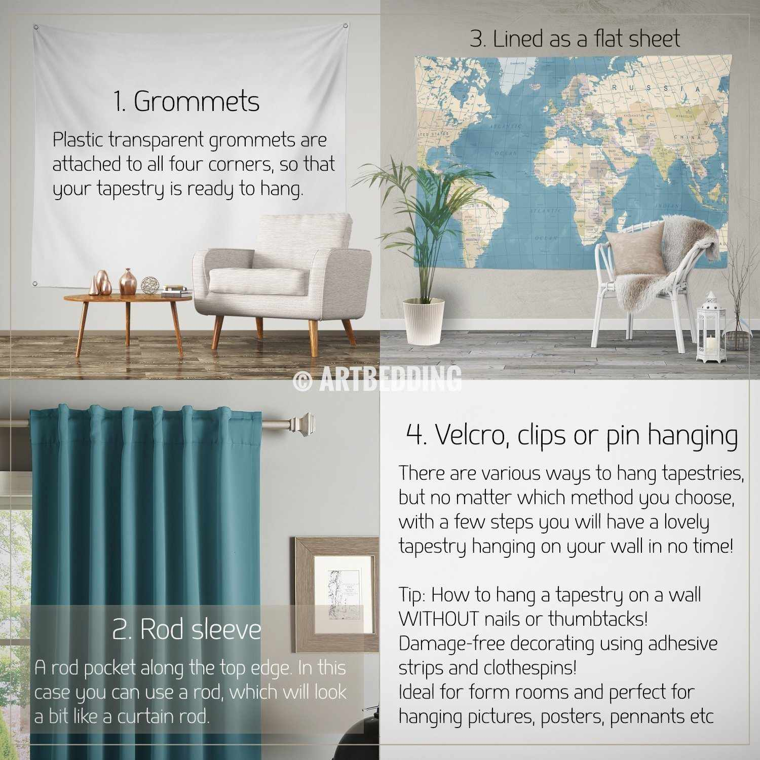 Wall Murals Wall Tapestries Canvas Wall Art Wall Decor Tagged - Old world map wall art in blue