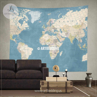 Vintage World Map wall tapestry, vintage interior map wall hanging, old map wall decor, vintage map wall art print Tapestry
