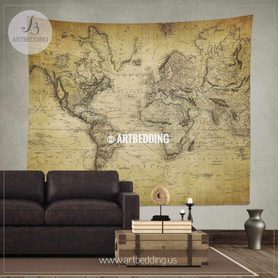 Vintage world map wall tapestry, vintage interior world map wall hanging, old map wall decor, vintage map wall art print Tapestry