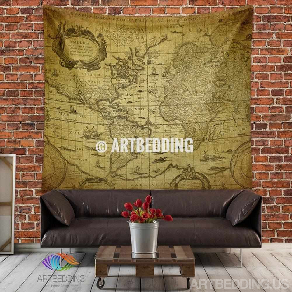 Vintage world map wall tapestry,  world map wall hanging, old map wall decor, historical vintage map interior