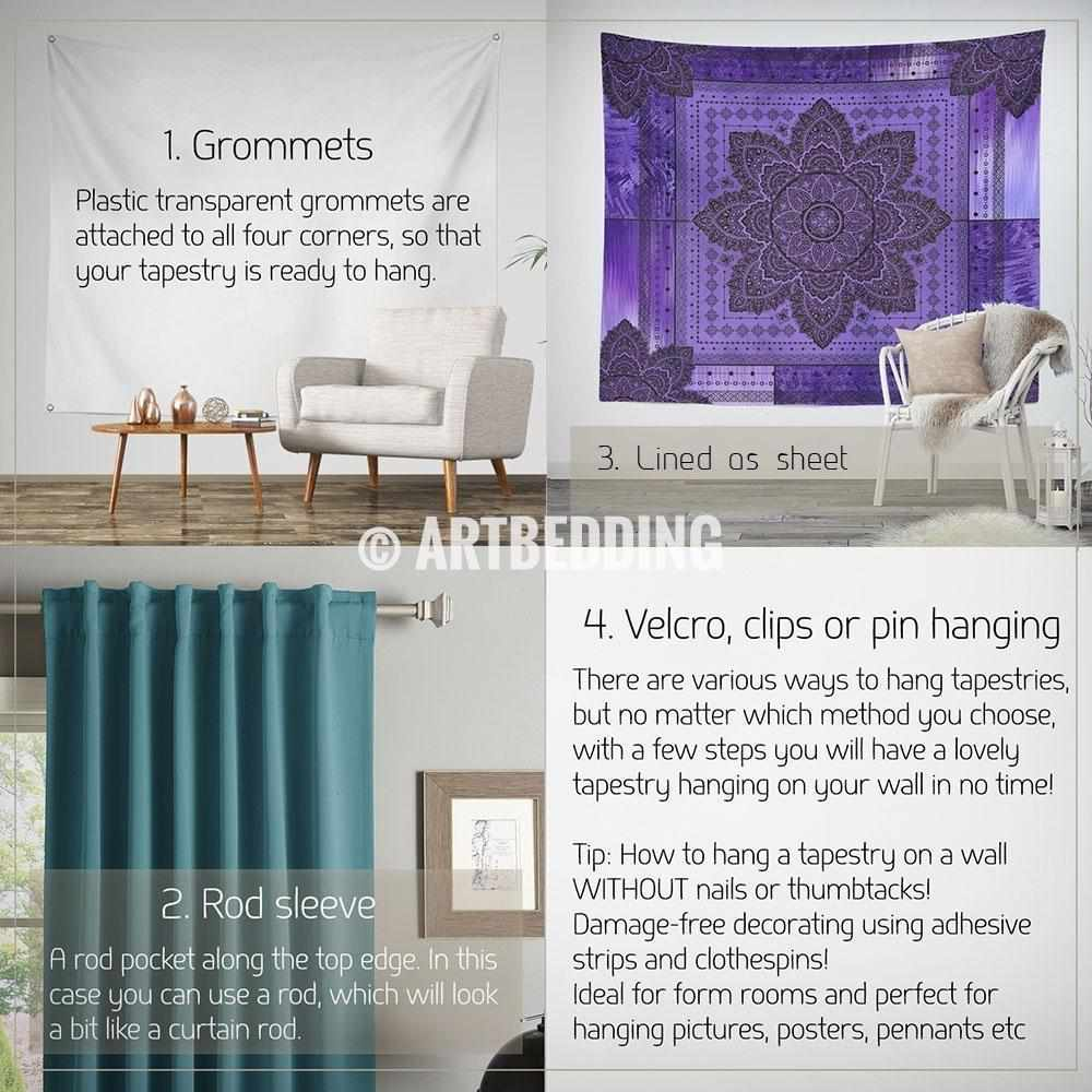 Boho spirit artbedding violet bohemian tapestry violet and amethyst mandala wall hanging seventh crown chakra mandala design amipublicfo Gallery