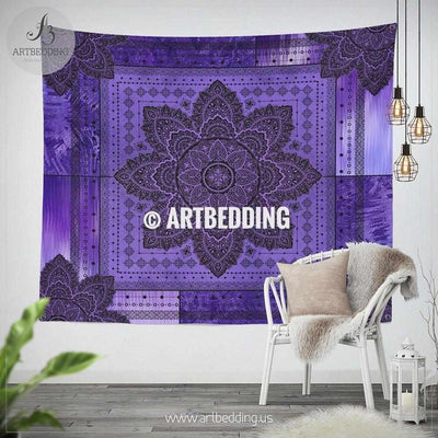 Violet Bohemian TAPESTRY,  Violet and amethyst mandala Wall hanging, seventh crown chakra Mandala design Wall Decor, Spiritual chakra Mandala Tapestry, bohemian interior Tapestry