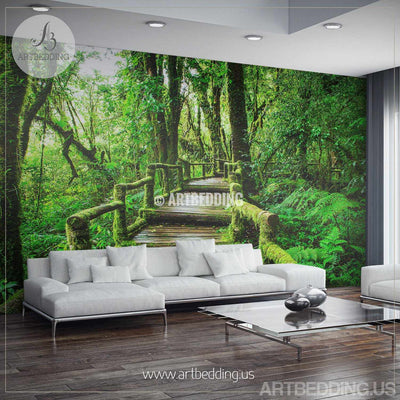 Wall Mural Deep forest bridge, Forest photo mural Self Adhesive Peel & Stick, Nature deep forest bridge wall mural wall mural