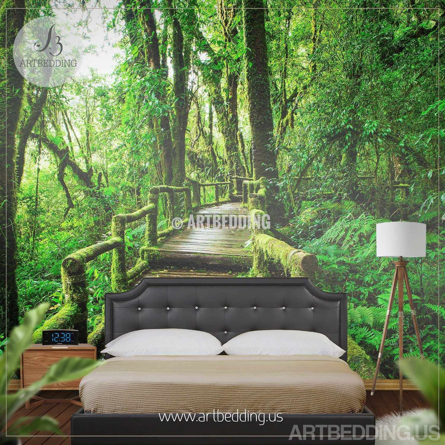 ... Wall Mural Deep Forest Bridge, Forest Photo Mural Self Adhesive Peel U0026  Stick, Nature ...