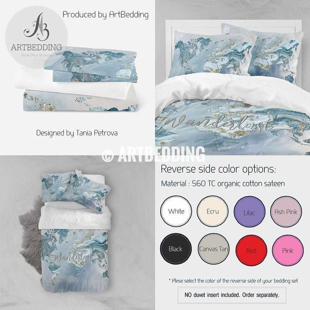 Wanderlust blue and gold marble summer vibes world map bedding, Bohemian wanderlust world map duvet cover set, Modern wanderlust world map comforter set Bedding set