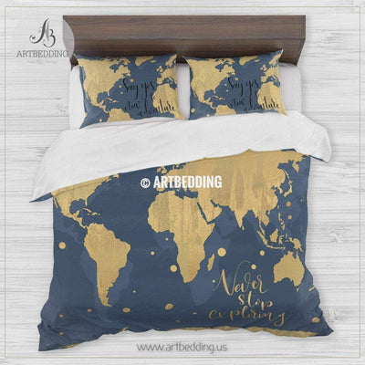 Wanderlust gold metallic effect world map bedding, Bohemian aegean blue wanderlust world map duvet cover set, Modern wanderlust world map comforter set Bedding set