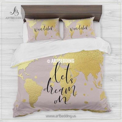 Wanderlust gold metallic effect world map bedding, Bohemian wanderlust world map duvet cover set, Modern wanderlust world map comforter set Bedding set