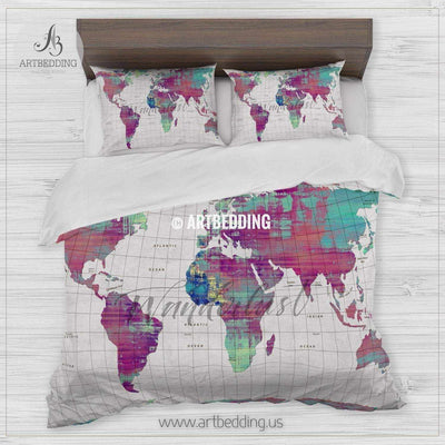 Wanderlust map bedding, Watercolor map duvet cover set, Modern wanderlust grunge paint wall map comforter set Bedding set