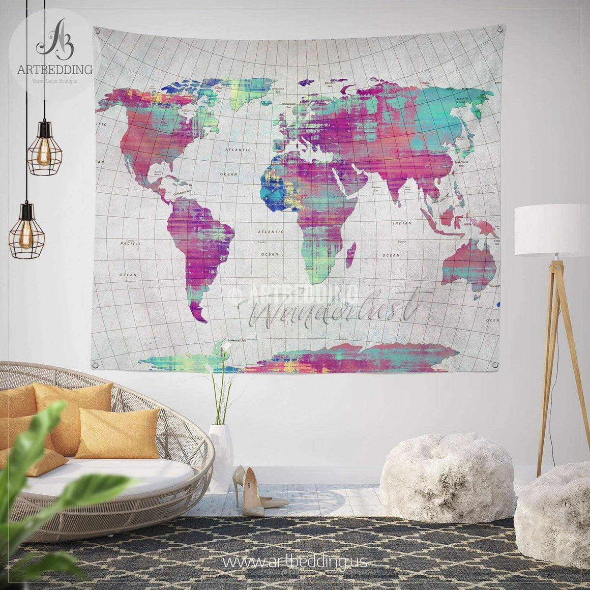 Wanderlust map wall Tapestry, World map grunge wanderlust wall hanging, Grunge pop art world map wall tapestries, bohemian wall decor Tapestry