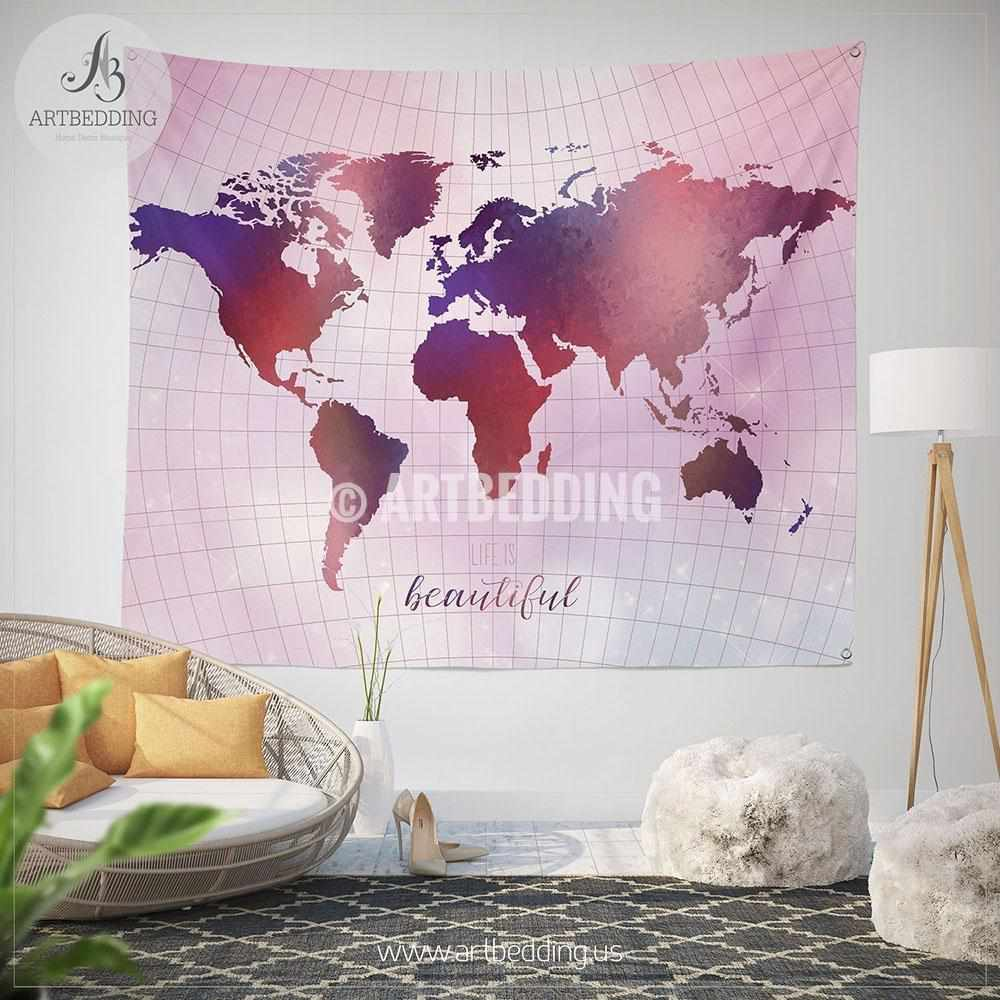 Wanderlust pink and purple world map wall Tapestry, Boho summer vibes  world map wall hanging, bohemian wall tapestries, boho wall decor Tapestry
