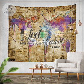 Wall murals wall tapestries canvas wall art wall decor tagged wanderlust quote wall tapestry boho spirit wall hanging grunge world map wall tapestries gumiabroncs Images