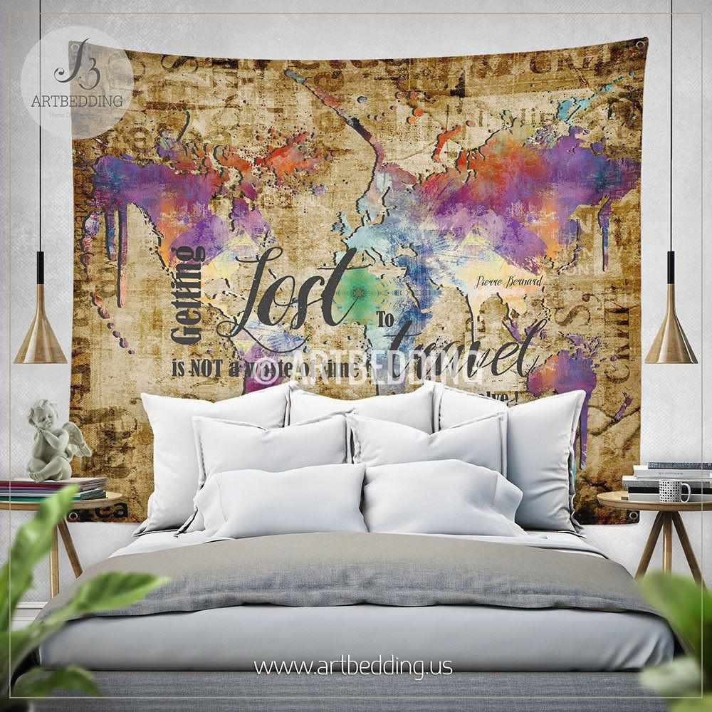 Wanderlust Quote wall Tapestry, Boho spirit wall hanging, Grunge world map wall tapestries, Hippie tapestry wall hanging, bohemian wall tapestries Tapestry